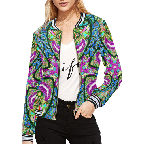 Thleudron Virtue All Over Print Bomber Jacket for Women (Model H21)