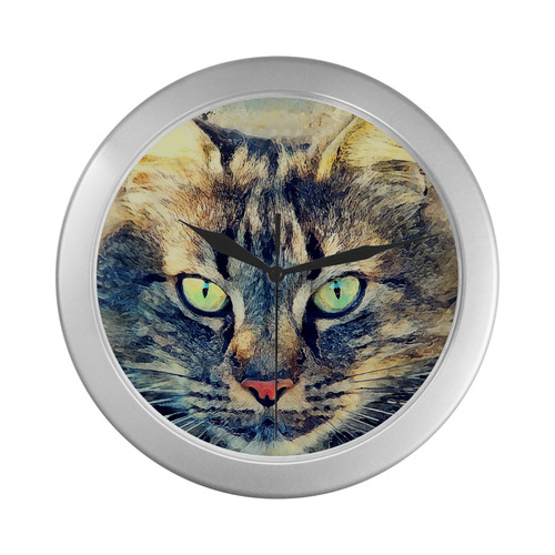 cat Simba Silver Color Wall Clock
