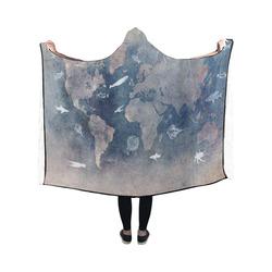 world map 26 Hooded Blanket 50''x40''
