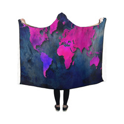 world map 14 Hooded Blanket 50''x40''