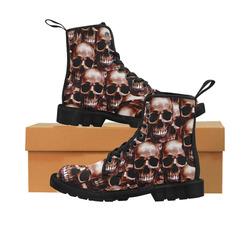 Lg Skull wall Martin Boots for Women (Black) (Model 1203H)