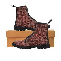 Skull wall Martin Boots for Women (Black) (Model 1203H)