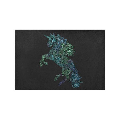 3D Psychedelic Unicorn blue and green Placemat 12'' x 18'' (Four Pieces)