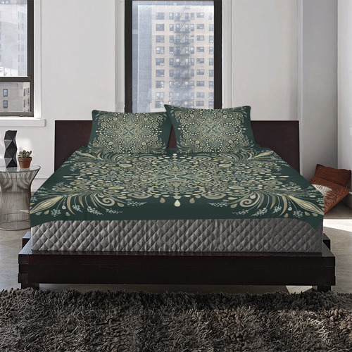 Brown Green Gold Pearl Jewel Vintage Mandala 3-Piece Bedding Set