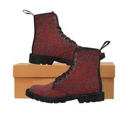 Red Skull wall Martin Boots for Women (Black) (Model 1203H)