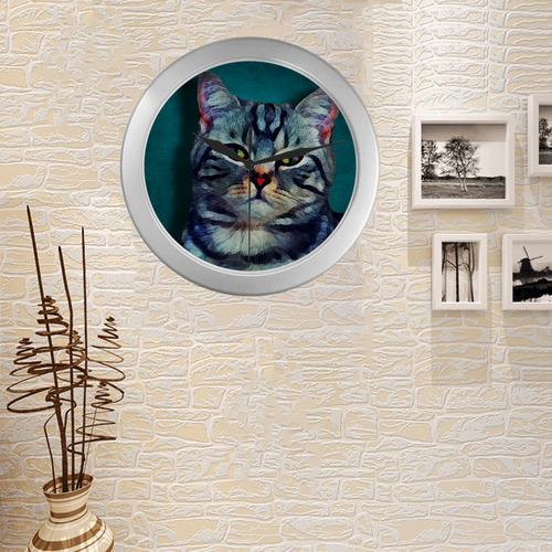 cat Bella #cat #cats #kitty Silver Color Wall Clock
