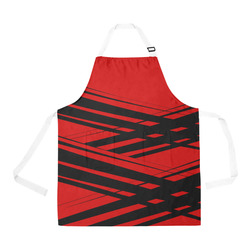 Black and Red Diagonal Criss Cross All Over Print Apron