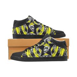 Black and Yellow Punk Tribal Skull Men's Chukka Canvas Shoes (Model 003)